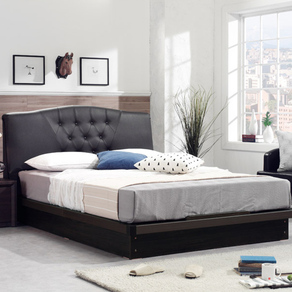 파로마 모던 아벨 클래식 평상형 PU가죽 침대세트, 초코브라운, 프레임(SS)+친환경본넬매트리스